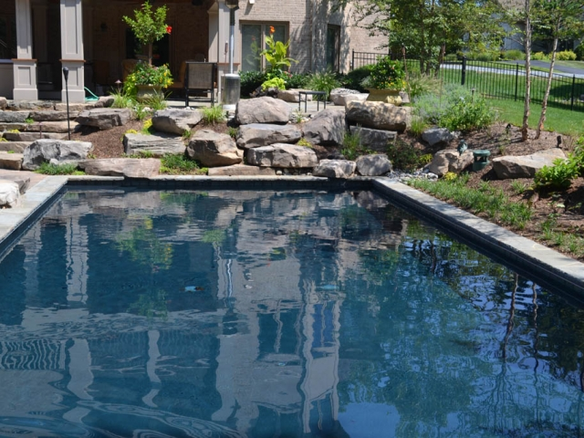 Rectangle pools swimming pools town country pools for Kenny pool design